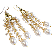 White Swarovski Faux Pearl Long Chandelier Earrings