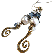 White Swarovski Faux Pearl and Denim Blue Crystal Long Brass Dangle Earrings