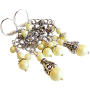 SOLD Pastel Yellow Swarovski Faux Pearl Chandelier Earrings with Antique Silver Finished Brass