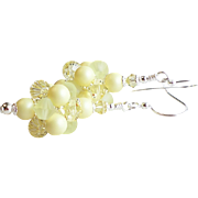 SOLD Pastel Yellow Swarovski Crystal and Faux Pearl Cluster Ball Earrings