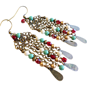 Gypsy Style Long Brass Chandelier Earrings With Swarovski Faux Pearl and More