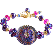 Czech Glass Button Bracelet In Purple, Blue and Fuchsia With Swarovski Crystals and Glass Pear