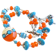 Orange and Turquoise Blue Double Strand Lampwork Czech Glass Bracelet