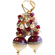 Dark Red and Cream Lampwork Cluster Earrings