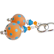 Orange Blue Polka Dot Lampwork Earrings