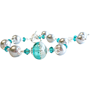 Teal and Gray Lampwork Bracelet and Earrings Set With Swarovski Crystals