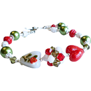 Heart Lampwork Bracelet In Red, White and Green With Swarovski Crystals, Glass Pearls and Glas