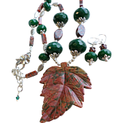Red Green Jasper Leaf Necklace and Earrings Set With Dyed Green Imitation Jade Stones