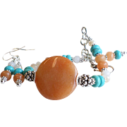 Peach Aventurine and Dyed Howlite Turquoise Bracelet and Earrings Set