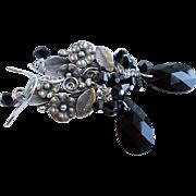 Jet Black Swarovski Crystal Cluster Earrings With Silver Plated Flower Links