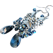 Montana Blue Swarovski Crystal Cluster Earrings With Silver Plated Flowers Links