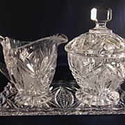 Beautiful Glass Creamer and Sugar Set 4 Pieces