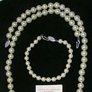 SALE Lustrous Estate Mallorca Imitation Pearl Necklace and Bracelet