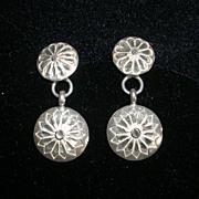 Sterling Silver Diamond Cut Disc Earrings