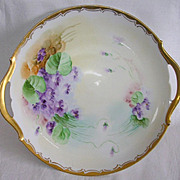 Signed Pickard Limoges Hand Painted Violets Cake Plate
