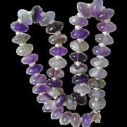 SALE Large Natural Amethyst Polished Rondelle Bead Necklace