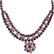 SALE Vintage 1950's Astra Amethyst Rhinestone and Faux Opal Bib Necklace
