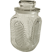 Anchor Hocking Clear Glass Waffle Sunburst Canister/Jar with Stopper