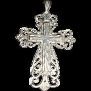 Ornate Sterling Silver Diamond Cut Cross Pendant