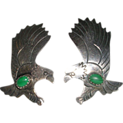 Vintage Sterling Silver Eagle and Malachite Earrings