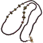 """SALE Exotic Garnet and Bali Bead 32"""" Necklace"""
