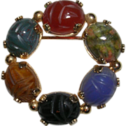 Burt Cassell 12Kt GF Circle Gemstone Scarab Pin Brooch