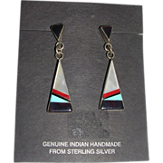 Handmade Native American Zuni Turquoise and Sterling Silver Earrings