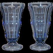 Anchor Hocking Ice Cream Sundae Parfait Glasses Tall Sapphire Blue