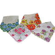 4 Colorful Vintage Floral Pansy Rose Wildflower Hankies