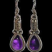 Natural Amethyst Gemstone and Sterling Silver Drop Earrings
