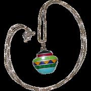 SALE Southwestern Design Sterling Silver Inlaid Gemstone Pendant