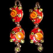 SALE TaraTaTa France Whimsical Enamel and Rhinestone Copper Dangle Pierced Earrings