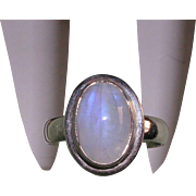 Glowing Natural Moonstone Sterling Silver Ring