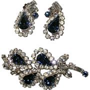 Sapphire Blue and Clear Rhinestone Demi Parure Brooch and Earring Set