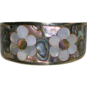 Vintage Abalone Shell Floral Design Cuff Bracelet Mexico
