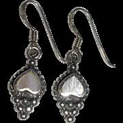 Sterling Silver and MOP Heart Dangle Earrings