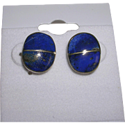 Navajo Signed Lapis Lazuli Sterling Silver Button Earrings