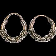 Sterling Silver Bali Style Hoop Earrings
