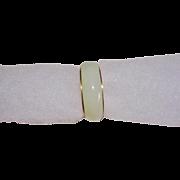 Vintage 14K Yellow Gold Jade Band Ring