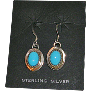 Native American Sterling Silver Turquoise Cabochon Earrings