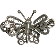 Early Hand Made Sterling Silver Filigree Butterfly
