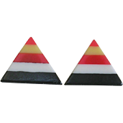 Fun Mid Century Laminated Bakelite Triangle Earrings