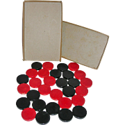 Vintage Cherry Red & Black Set Catalin Bakelite Backgammon Pieces or Checkers