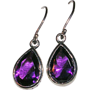 Sterling Silver Pear Shaped Amethyst Earrings
