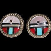 Signed Zuni Sun Face Sterling Silver Earrings Raymond Gasper
