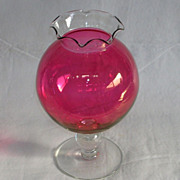 Unique Round Cranberry/Ruby Overlay Vase