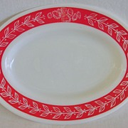 Anchor Hocking Fire King Red & White Restaurant Ware Serving Platter