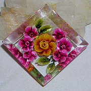 Colorful Back Carved Lucite Pin