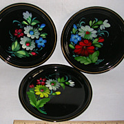 Trio of  Vintage Russian Toleware Tin Plates