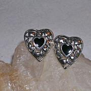 Sterling Silver Filigree and Black Onyx Heart Pierced Earrings